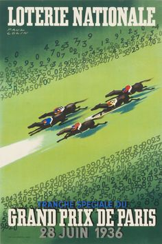 Grand Prix de Paris - Loterie Nationale by Colin, Paul | Shop original vintage #posters online: www.internationalposter.com Vintage Travel Posters, Vintage Ads, Grand Prix, Art Deco Posters, Global Art, Art Deco Design, Map Art, Unique Art, Travel Photography