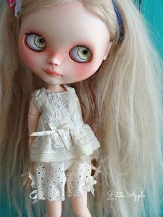 Blythe doll outfit - *Antique* 2 pcs shorts play set - grunge vintage embroidered by marina, $65.00 USD