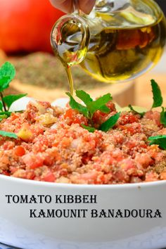 """Kamounit Banadoura / Tomato Kibbeh /Kibbet Banadoura or whatever you wish to call it, is simply a southern Lebanese dish that calls for tomatoes, onions, bulgur, extra virgin olive oil and kibbeh spice – rich in vitamins, minerals, fibers and unsaturated fatty acid (from the olive oil). A wonderful combination of earthy ingredients. A home-style recipe that you won't find on the menu of a Lebanese restaurant. I grew up eating """"Kamounit Banadoura"""" Pita Bread Ingredients, Kibbeh Recipe, A Food, Good Food, Lebanese Recipes, How To Squeeze Lemons, Eating Habits, Food Processor Recipes, Bulgur"""