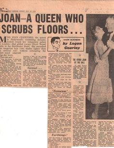 "Joan Crawford newspaper clipping: ""Joan-- A Queen Who Scrubs Floors"""