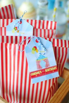 Circus Carnival Themed Birthday Party Favor Tags
