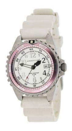 Momentum Women's 1M-DV11WR1W M1 Twist Pink Bezel White Silicone Rubber Watch