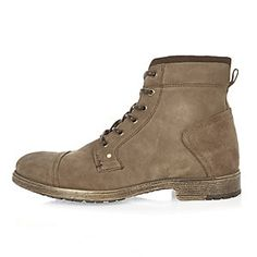 Khaki suede worker boots