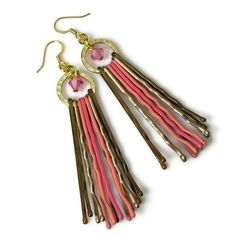 Upcycled pink dangle chandelier earrings that are very unique and fun! These stylish earrings are made from bobby pins! I used gold, bronze and pink