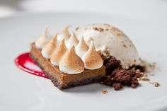 "Grilled-Pumpkin Chocolate Tart from Mas (la Grillade). ""Grilled pumpkin is turned into a Thanksgiving-worthy tart, and dollops of meringue are blasted with a torch."""