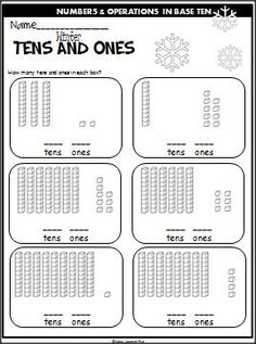 Winter Tens And Ones Practice.  Students look at the base ten blocks and write the number for 10s and 1s.