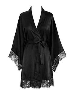 bff18f008 Old Shanghai Women s Kimono Robe Short - Lace Trim (Black)