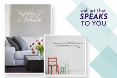 personalize your home with these sweet vinyl decals from Belvedere Designs http://www.wallquotes.com/index.html + a discount for SMP at Home readers  http://www.stylemepretty.com/2012/12/01/belvedere-designs-a-discount/#