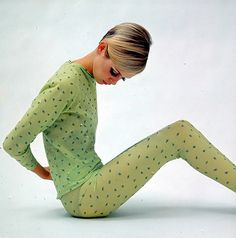 Twiggy, green tights and top via Fancy Fine