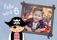 Lustige Einladungskarte Zum Piraten Kindergeburtstag Mit Foto #Pirat #Foto # Rahmen #birthday