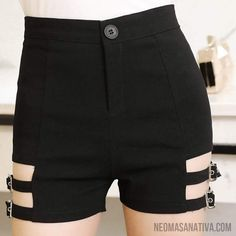 Sexy Women'S Vintage Black Elastic High Waist Hot Shorts Tight Skinny Garter Belt Punk Shorts The clothing culture is very … Edgy Outfits, Short Outfits, Cool Outfits, Short Dresses, Hot Shorts, Black Shorts, Camo Shorts, Summer Shorts, Nike Shorts