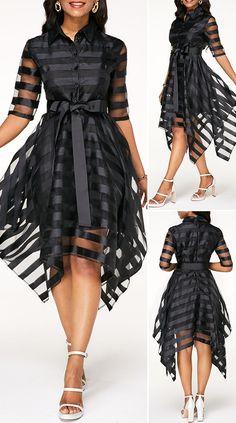Asymmetric Hem Sheer Striped Half Sleeve Belted Dress - New Site Elegant Dresses For Women, Pretty Dresses, Sexy Dresses, Beautiful Dresses, Casual Dresses, Low Cut Dresses, Best African Dresses, Latest African Fashion Dresses, Women's Fashion Dresses
