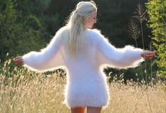 WHITE Hand Knitted Mohair Sweater by SuperTanya®. Themohair, together withcashmere ,alpaca andangora is one of the world's most loved materials for making one of a kind, softsweaters ,cardigans and many other premium garments and accessories. | eBay!