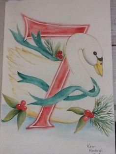 Swans A'Swimming 12 Days of Christmas    Kerri Kimbriel.  Watercolor