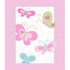 Springs Creative 3D Nursery Butterfly Whimsy Quilt Top Fabric by the Yard, Pink