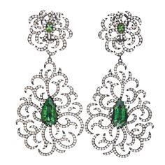 From Hamilton's Gemstone Collection, handmade earrings with green tourmalines and diamonds set in 18k white gold with black rhodium finish.