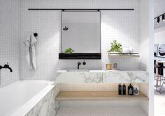 Bathroom inspo OR Bathroom envy? I think I've got both with this beautiful bathroom at Maple Apartments. Laundry In Bathroom, Marble Bathroom, House Bathroom, Interior, Interior Styling, Bathroom, Bathroom Inspo, Bathrooms Remodel, Bathroom Inspiration