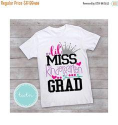 Lil Miss Kindergarten Grad Girls Shirt | Kindergarten Graduate Top | Grade K Elementary School Grad Shirt by TheCrochetClosetTN on Etsy https://www.etsy.com/listing/510762385/lil-miss-kindergarten-grad-girls-shirt