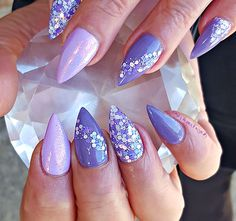Purple almond acrylic nails