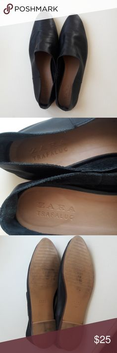 ZARA slip on shoes Very soft real leather black shoes. Worn only 1 time! The size is 40, which is normally a 10, but I wear a 9.5 and they fit me fine, I can tell they would eventually stretch a bit since the leather is quite subtle. Zara Shoes Flats & Loafers