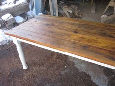 Love this crazy rustic Doug Fir. Who says you can't eat off of the floor? The top is made from the drive in the hay mow of an old barn. Reclaimed Wood Table Top, Cool Furniture, Furniture Ideas, Coastal Living, Farm Tables, Dining Tables, Dining Room, Home Kitchens, Repurposed