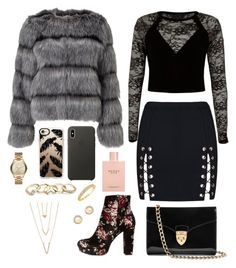"""Untitled #3"" by georgia-gr-1 on Polyvore featuring Charlotte Russe, Lipsy, River Island, Aspinal of London, Gucci, Apple, Casetify, GUESS, Bloomingdale's and Michael Kors"
