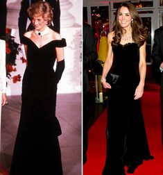 Kate appears to be taking style cues from her late mother-in-law Princess Diana. When The Duchess of Cambridge stepped out in an elegant black velvet Alexander McQueen gown in London, royal fans were instantly reminded of a similar dress Diana wore to the White House in November 1985, where she danced with John Travolta. The stunning midnight blue Victor Edelstein design was part of the Christie's auction in 1997.
