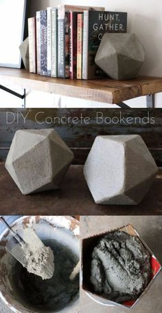 43 DIY concrete crafts - Geometric Concrete Bookends- Cheap and creative projects and tutorials for countertops and ideas for floors, patio and porch decor, tables, planters, vases, frames, jewelry holder, home decor and DIY gifts. http://diyjoy.com/diy-concrete-crafts-projects