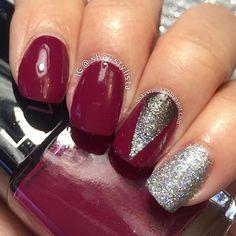 I love this color! Super pretty Mani by @shaystylista!❤️ - Deep Chevron #NailVinyls  www.snailvinyls.com