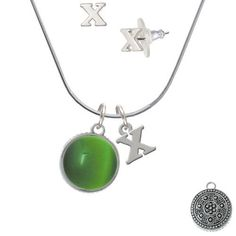 Silvertone Round Green Imitation Cat's Eye - X Initial Charm Necklace and Stud Earrings Jewelry Set -- To view further for this item, visit the image link. (This is an affiliate link) #JewelryDesign