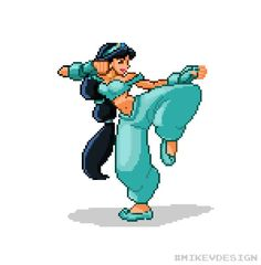 Disney Characters as Pixelated STREET FIGHTER Characters