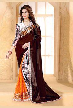 #Brown Georgette #Printed #Saree #nikvik  #usa #designer #australia #canada #freeshipping #sari #print