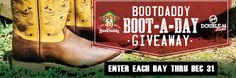 Boot-A-Day Giveaway at PFI Western Store! Enter to win a free pair of boots from a featured boot maker. One winner per day until December 31st!  http://www.pfiwestern.com/pfi-bootdaddy-bootaday-giveaway