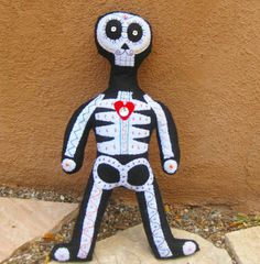 Day of The Dead Skeleton Doll by Skeletina on Etsy.  Sugar Skull, Felt Crafts, Art Doll, Halloween.