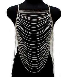 Womens Multi Layers Chains Waves SILVER Metal Body Jewelry Long Necklace