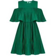 Vera Green Cold Shoulder Dress (10.200 HUF) ❤ liked on Polyvore featuring dresses, vestidos, jovonna, green day dress, cold shoulder formal dresses, cutout shoulder dresses and cut-out shoulder dresses
