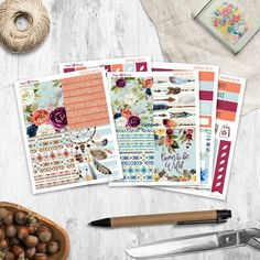 Bohemian - Mini Planner sticker kit sheets) - for Happy Planner and Erin Condren Weekly Planner, Life Planner, Happy Planner, Permanent Marker, Gel Pens, Erin Condren, Sharpie, Planner Stickers, Kit