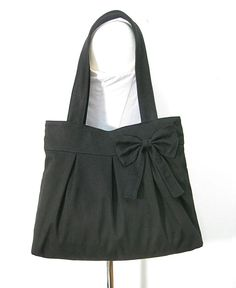 black cotton fabric purse with bow / canvas tote bag by Markfabric, $24.00
