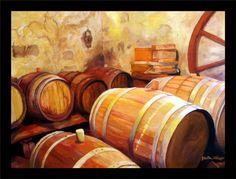 Wine Barrels      Aging Wine  Barrels  Orgininal Oil Painting by HollandArtstead on Etsy!