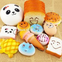 12PCS/Lot Squishy Kit Bread Scented Panda Toast Cone Hamburger Turtle Phone…