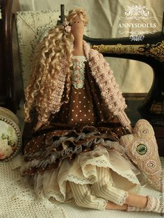 Купить Дея - коричневый, пыльная роза, кукла, тильда, бохо, стиль бохо, пыльно-розовый
