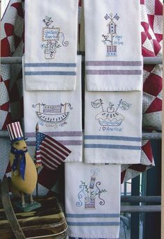 Celebrate some Americana FUN as you embroider tea towels for lots of partiotic holidays throughout the year.  Designs are stitched on Red and Navy striped tea towels from Dunroven House.  These don't take much time to embroider so you can have a set for your kitchen and make welcome gifts for friends and family! Love Sew EZ Quilting! https://www.sewezquilting.com/shop/product/americana-celebration-tea-towels/