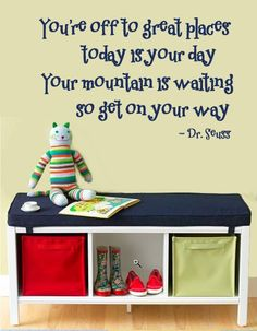 WALL DECAL You're off to Great Places Dr. Seuss   Childrens Wall Quote Decal    LARGE on Etsy, $56.00