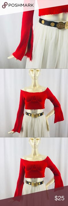 Flirt Off Ripped Knit Croo Top Such A Flirt Off-Shoulder Top and you're good at it. This red off shoulder top has frayed hems, a cropped length, and open flowy sleeves. Tops Crop Tops