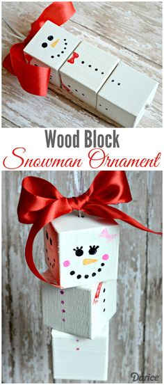 DIY Wood Block DIY Snowman Ornament from The Cards We Drew via Darice