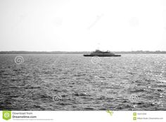 Photo about A high contrast black and white image of a large ferry boat crossing a canal in New Jersey. Image of image, white, ferry - 102274209 White Stock Image, White Image, High Contrast Images, Ferry Boat, Boats, Ships, Black And White, Water, Outdoor