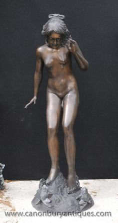 Lifesize Art Nouveau Bronze Female Playtime by Harriet Fishmouth Statue