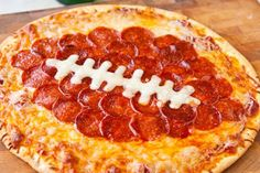 Super Bowl Pizza with Football Shaped Pepperoni.