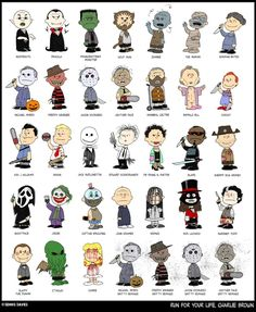 An Illustration Reimagining Charlie Brown and the 'Peanuts' Gang as Iconic Horror Characters
