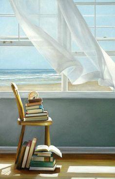 Karen Hollingsworth, Summer Reading List (2013). Artiste américaine dont les natures mortes sont articulées autour de fenêtres, de rideaux agités par la brise, d'intérieurs baignés de lumière et d'objets symboliques.